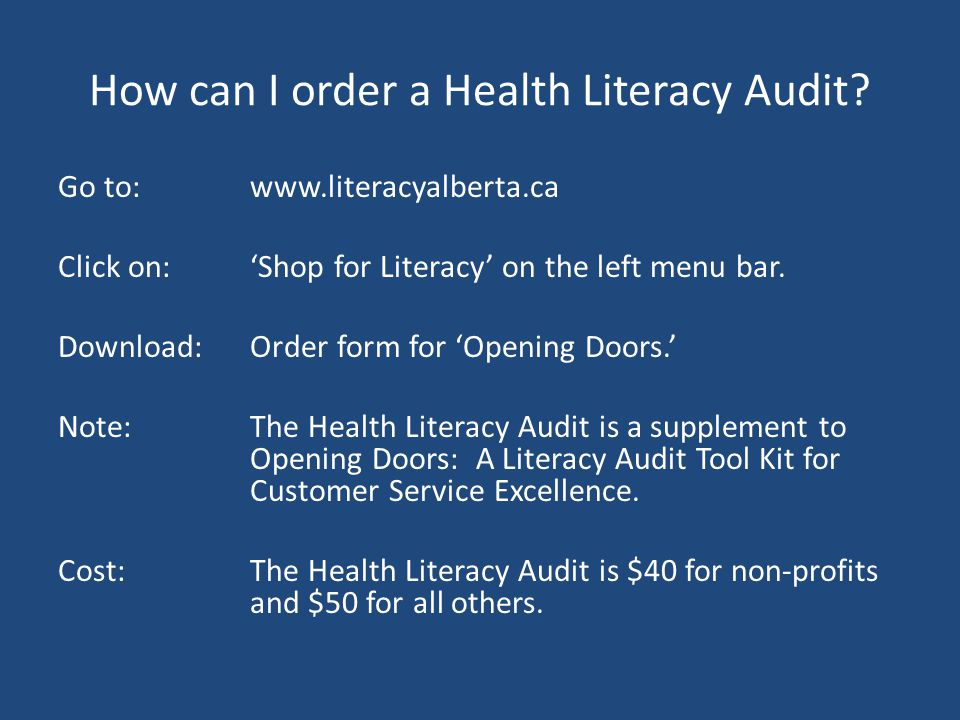 How can I order a Health Literacy Audit.