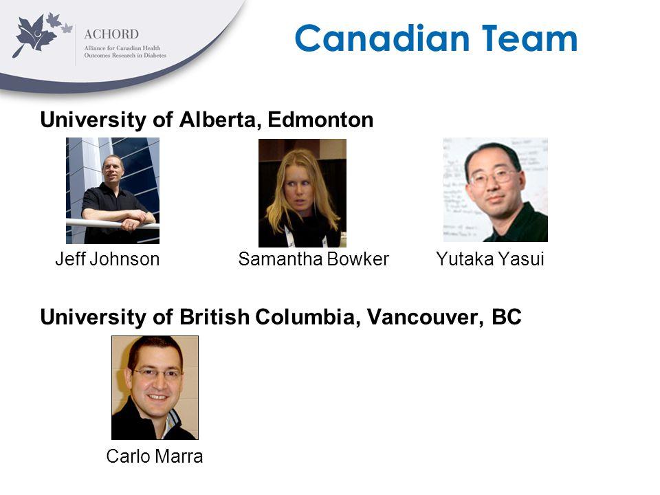 Canadian Team University of Alberta, Edmonton Jeff Johnson Samantha Bowker Yutaka Yasui University of British Columbia, Vancouver, BC Carlo Marra