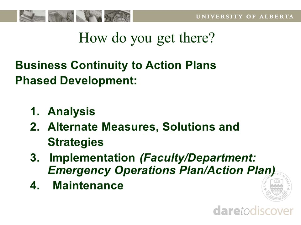 Business Continuity to Action Plans Phased Development: 1.Analysis 2.Alternate Measures, Solutions and Strategies 3.