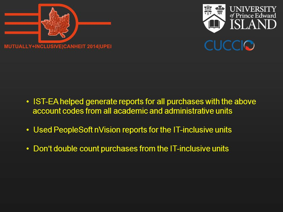 IST-EA helped generate reports for all purchases with the above account codes from all academic and administrative units Used PeopleSoft nVision repor