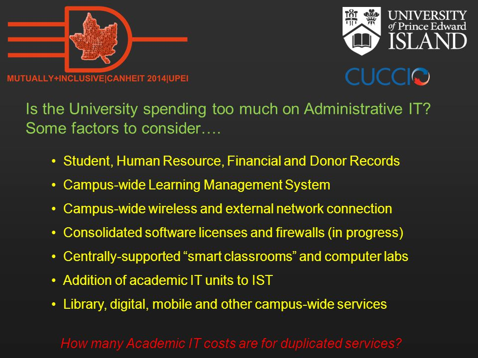 Is the University spending too much on Administrative IT? Some factors to consider…. Student, Human Resource, Financial and Donor Records Campus-wide