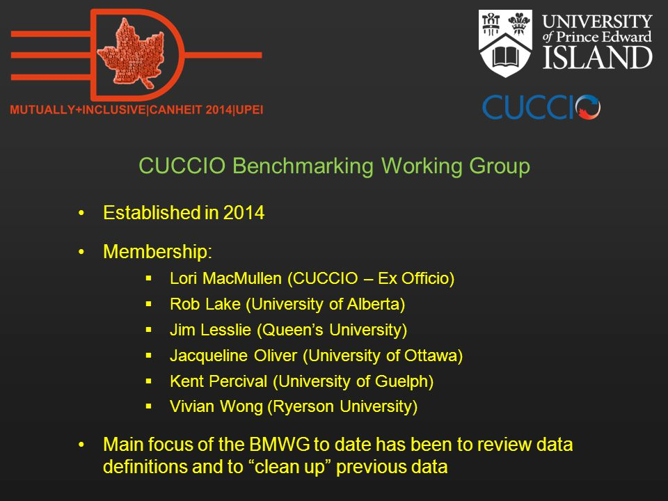 CUCCIO Benchmarking Working Group Established in 2014 Membership:  Lori MacMullen (CUCCIO – Ex Officio)  Rob Lake (University of Alberta)  Jim Lesslie (Queen's University)  Jacqueline Oliver (University of Ottawa)  Kent Percival (University of Guelph)  Vivian Wong (Ryerson University) Main focus of the BMWG to date has been to review data definitions and to clean up previous data