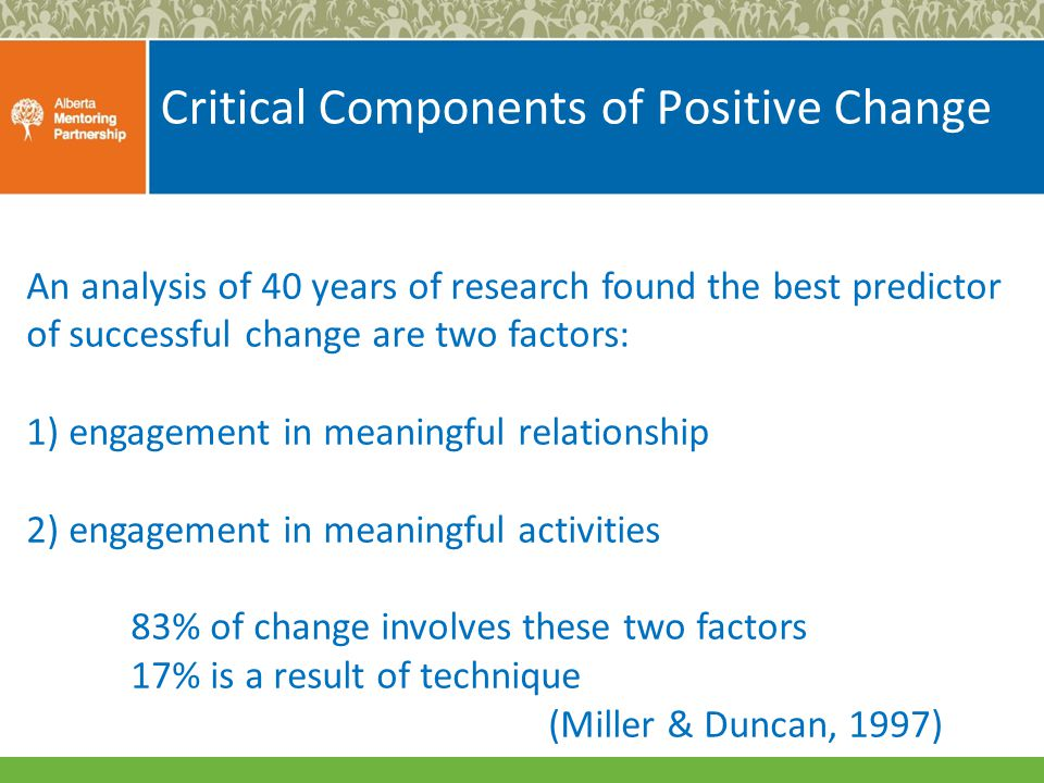 Critical Components of Positive Change An analysis of 40 years of research found the best predictor of successful change are two factors: 1) engagement in meaningful relationship 2) engagement in meaningful activities 83% of change involves these two factors 17% is a result of technique (Miller & Duncan, 1997)