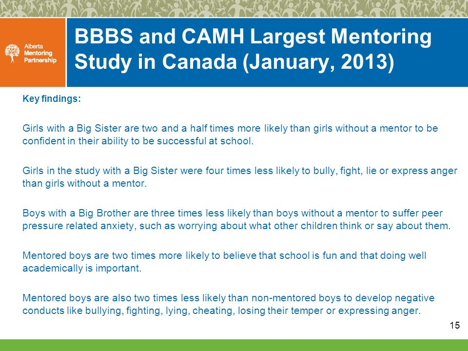 BBBS and CAMH Largest Mentoring Study in Canada (January, 2013) Key findings: Girls with a Big Sister are two and a half times more likely than girls without a mentor to be confident in their ability to be successful at school.