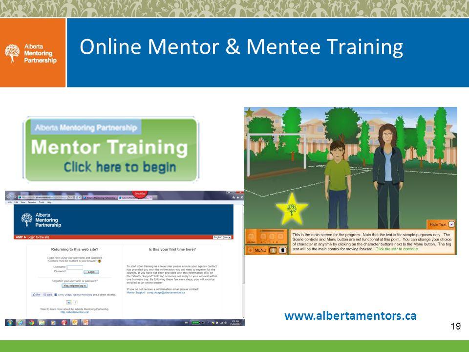 Online Mentor & Mentee Training www.albertamentors.ca 19