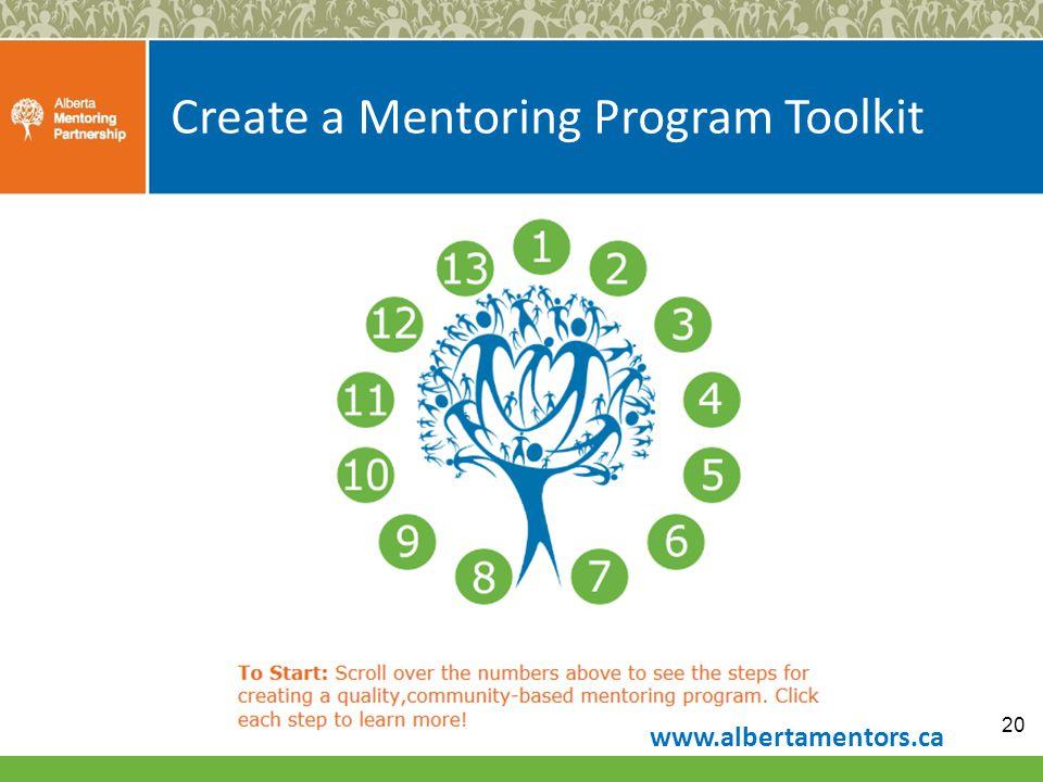 Create a Mentoring Program Toolkit 20 www.albertamentors.ca