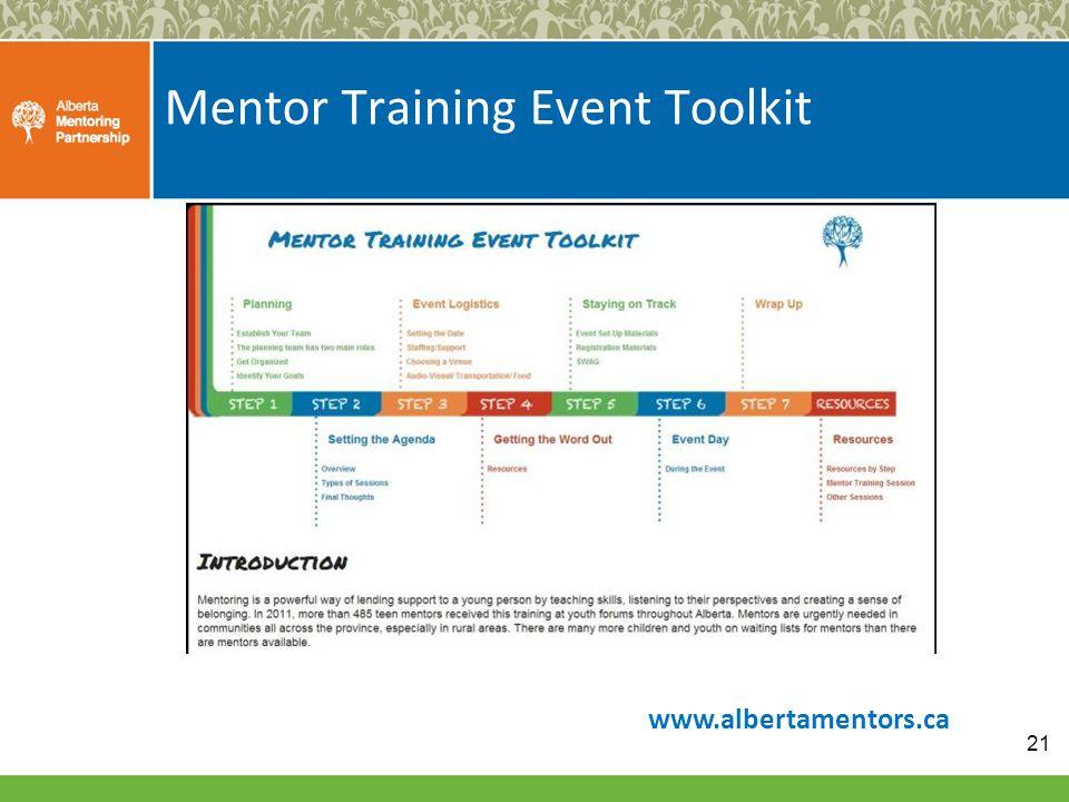 Mentor Training Event Toolkit 21 www.albertamentors.ca