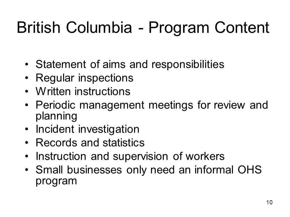 10 British Columbia - Program Content Statement of aims and responsibilities Regular inspections Written instructions Periodic management meetings for review and planning Incident investigation Records and statistics Instruction and supervision of workers Small businesses only need an informal OHS program
