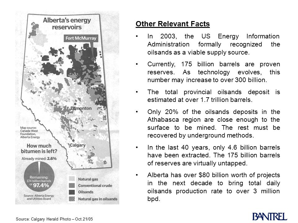Source: Calgary Herald Photo – Oct.21/05 Other Relevant Facts In 2003, the US Energy Information Administration formally recognized the oilsands as a viable supply source.