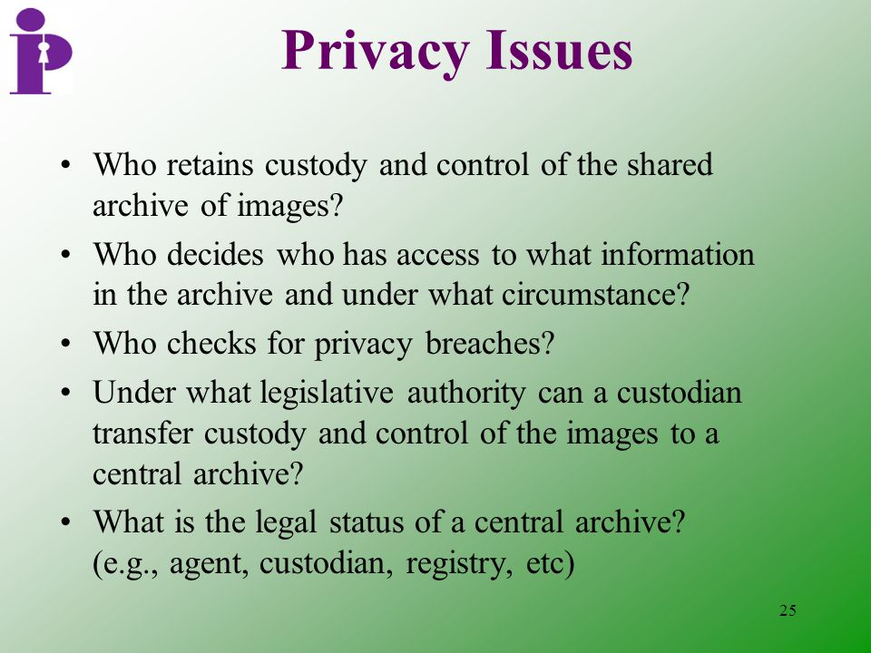 25 Privacy Issues Who retains custody and control of the shared archive of images.