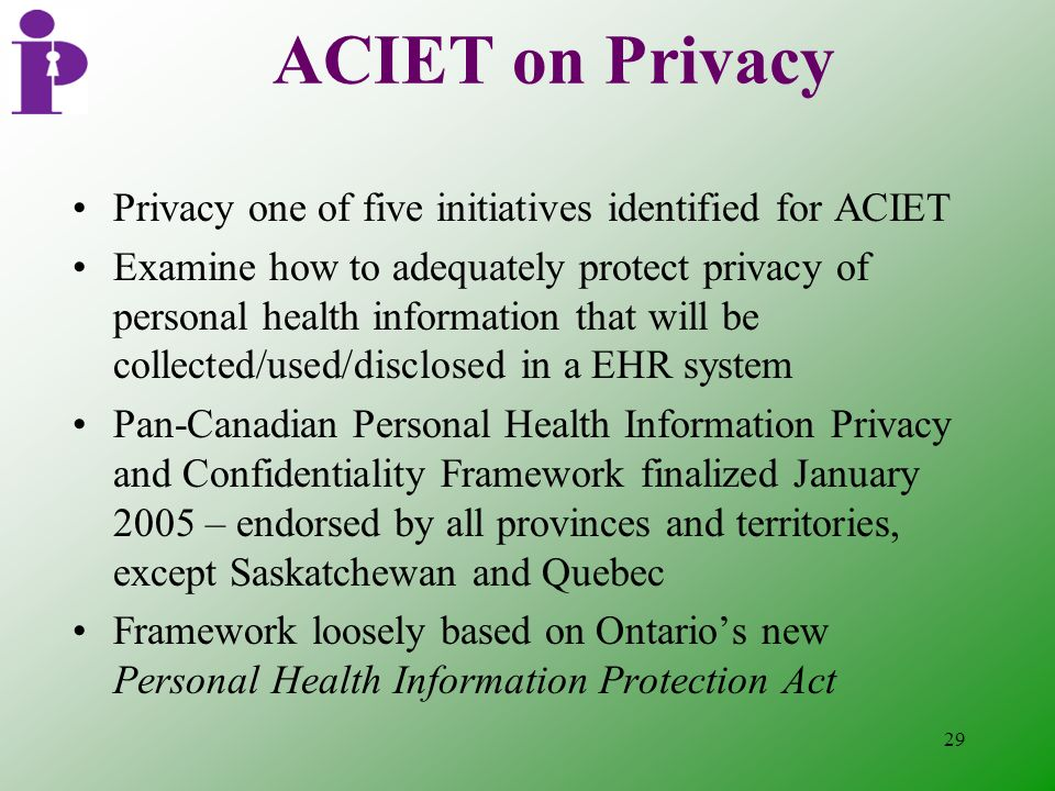 29 ACIET on Privacy Privacy one of five initiatives identified for ACIET Examine how to adequately protect privacy of personal health information that will be collected/used/disclosed in a EHR system Pan-Canadian Personal Health Information Privacy and Confidentiality Framework finalized January 2005 – endorsed by all provinces and territories, except Saskatchewan and Quebec Framework loosely based on Ontario's new Personal Health Information Protection Act