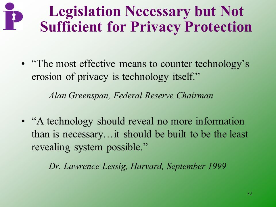 32 Legislation Necessary but Not Sufficient for Privacy Protection The most effective means to counter technology's erosion of privacy is technology itself. Alan Greenspan, Federal Reserve Chairman A technology should reveal no more information than is necessary…it should be built to be the least revealing system possible. Dr.