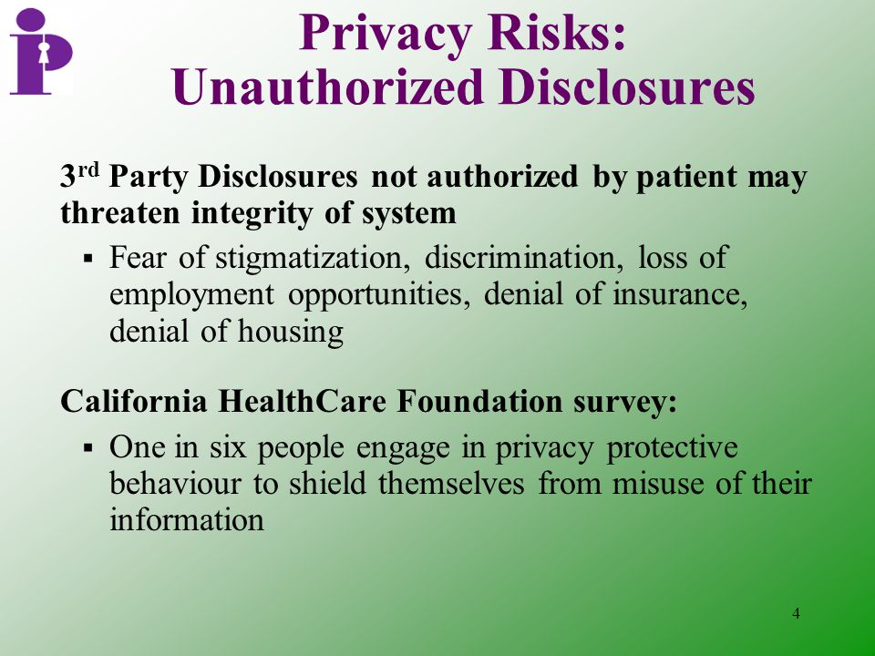 4 Privacy Risks: Unauthorized Disclosures 3 rd Party Disclosures not authorized by patient may threaten integrity of system  Fear of stigmatization, discrimination, loss of employment opportunities, denial of insurance, denial of housing California HealthCare Foundation survey:  One in six people engage in privacy protective behaviour to shield themselves from misuse of their information