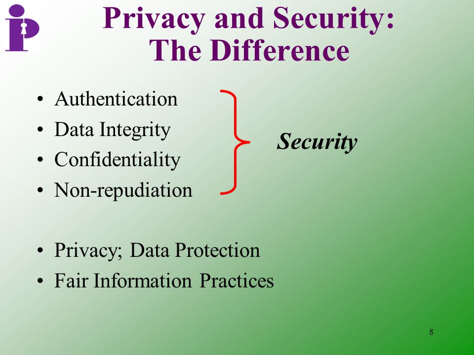 8 Authentication Data Integrity Confidentiality Non-repudiation Privacy; Data Protection Fair Information Practices Privacy and Security: The Difference Security