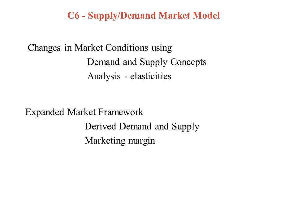 Expanded Framework Multiple levels of marketing system Derived demand –retail (primary) => farm (derived) –marketing margin –marketing activities (cost) links consumer and producer behaviour –deduce how retail shifts impact farm demand