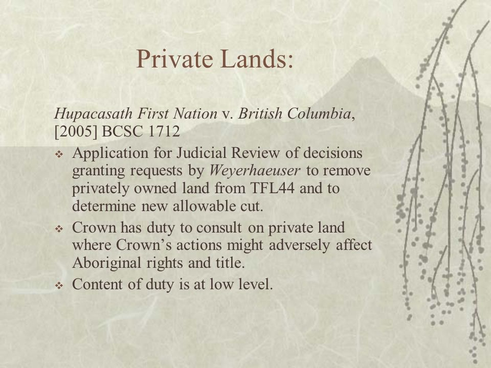 Private Lands: Hupacasath First Nation v.