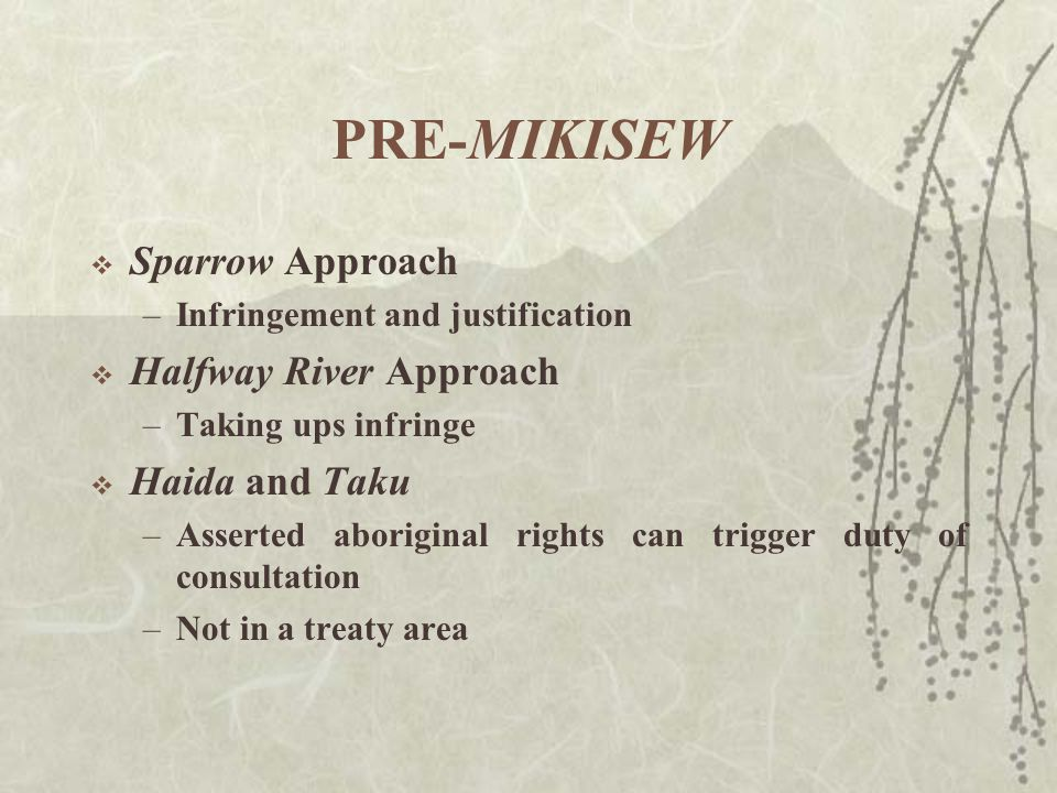 PRE-MIKISEW  Sparrow Approach –Infringement and justification  Halfway River Approach –Taking ups infringe  Haida and Taku –Asserted aboriginal rights can trigger duty of consultation –Not in a treaty area