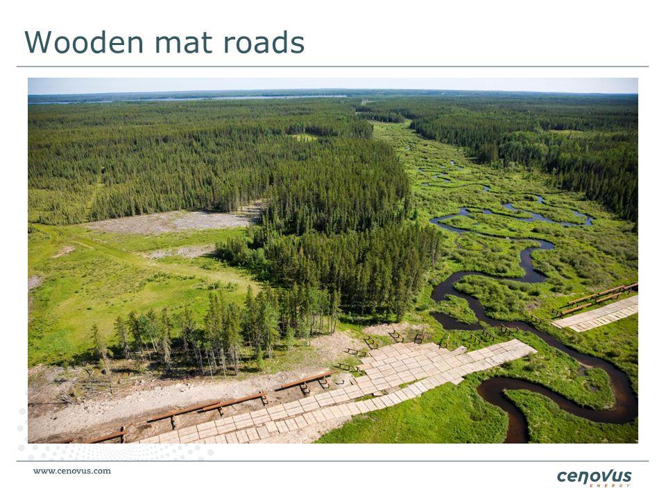 Wooden mat roads