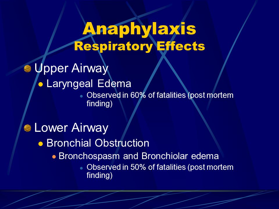Anaphylaxis Respiratory Effects Upper Airway Laryngeal Edema Observed in 60% of fatalities (post mortem finding) Lower Airway Bronchial Obstruction Bronchospasm and Bronchiolar edema Observed in 50% of fatalities (post mortem finding)