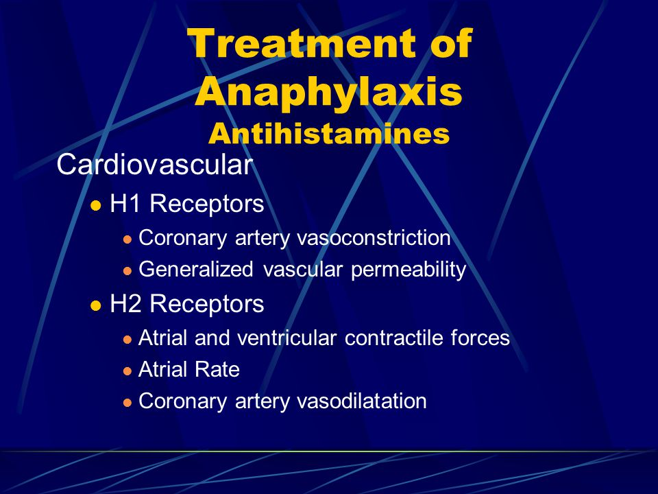 Treatment of Anaphylaxis Antihistamines Cardiovascular H1 Receptors Coronary artery vasoconstriction Generalized vascular permeability H2 Receptors Atrial and ventricular contractile forces Atrial Rate Coronary artery vasodilatation