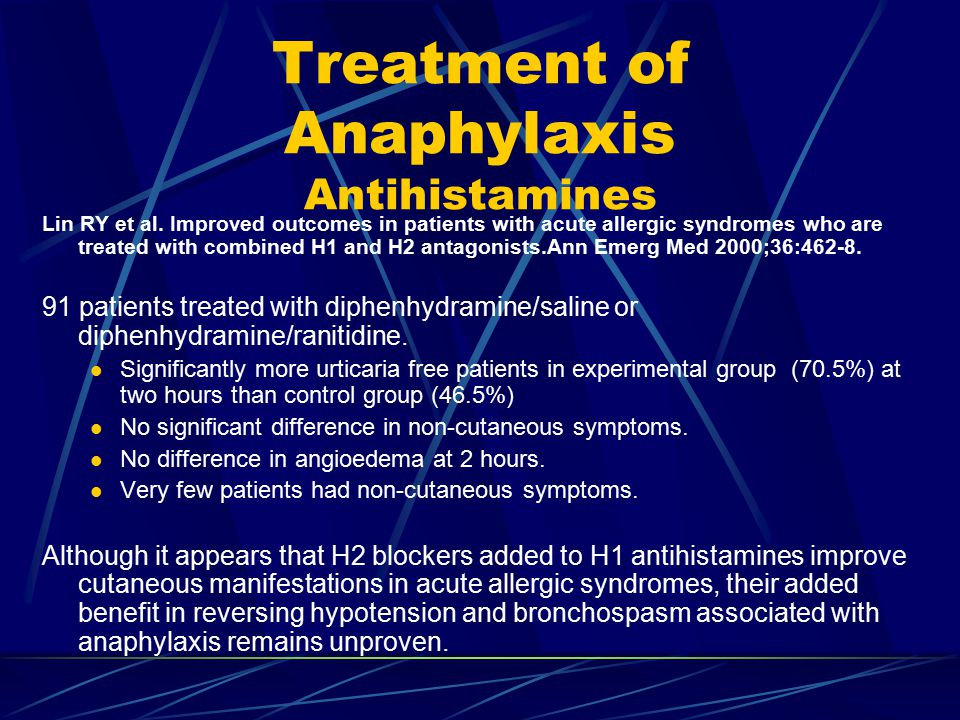 Treatment of Anaphylaxis Antihistamines Lin RY et al.