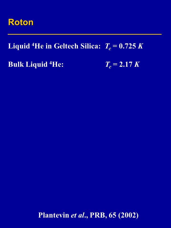 Roton Liquid 4 He in Geltech Silica: T c = 0.725 K Bulk Liquid 4 He: T c = 2.17 K Plantevin et al., PRB, 65 (2002)