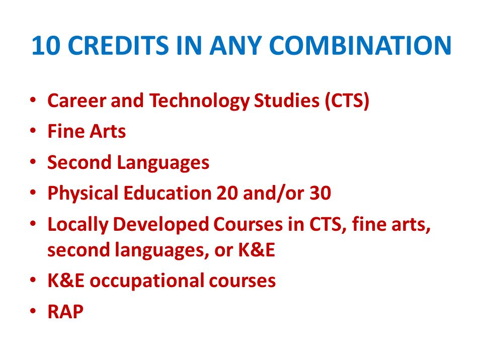 10 CREDITS IN ANY COMBINATION Career and Technology Studies (CTS) Fine Arts Second Languages Physical Education 20 and/or 30 Locally Developed Courses