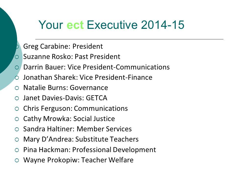 Your ect Executive 2014-15  Greg Carabine: President  Suzanne Rosko: Past President  Darrin Bauer: Vice President-Communications  Jonathan Sharek: