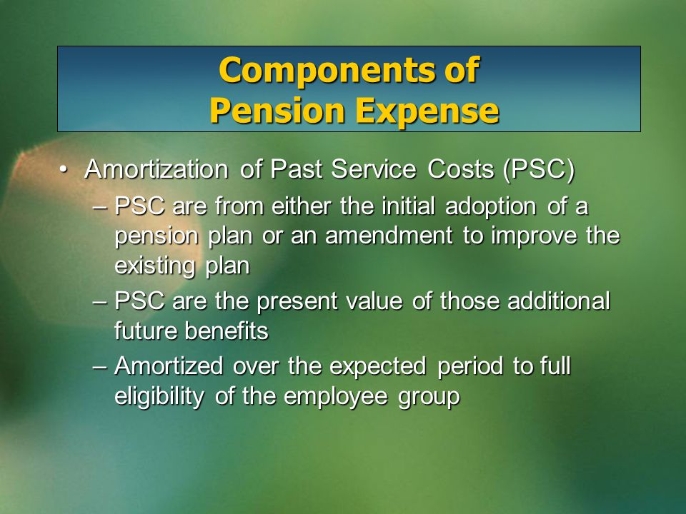 Amortization of Past Service Costs (PSC)Amortization of Past Service Costs (PSC) –PSC are from either the initial adoption of a pension plan or an amendment to improve the existing plan –PSC are the present value of those additional future benefits –Amortized over the expected period to full eligibility of the employee group