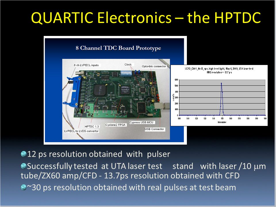 QUARTIC Electronics – the HPTDC 12 ps resolution obtained with pulser Successfully tested at UTA laser test stand with laser /10  m tube/ZX60 amp/CFD - 13.7ps resolution obtained with CFD ~30 ps resolution obtained with real pulses at test beam