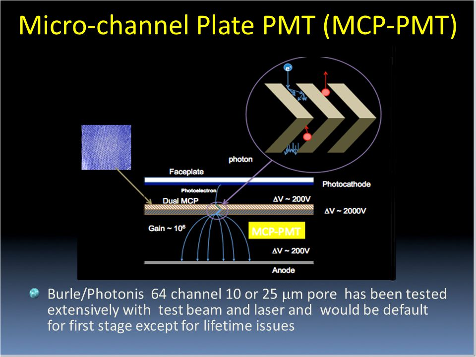 Burle/Photonis 64 channel 10 or 25  m pore has been tested extensively with test beam and laser and would be default for first stage except for lifetime issues Micro-channel Plate PMT (MCP-PMT)