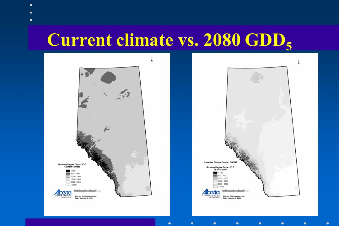 Current climate vs. 2080 GDD 5