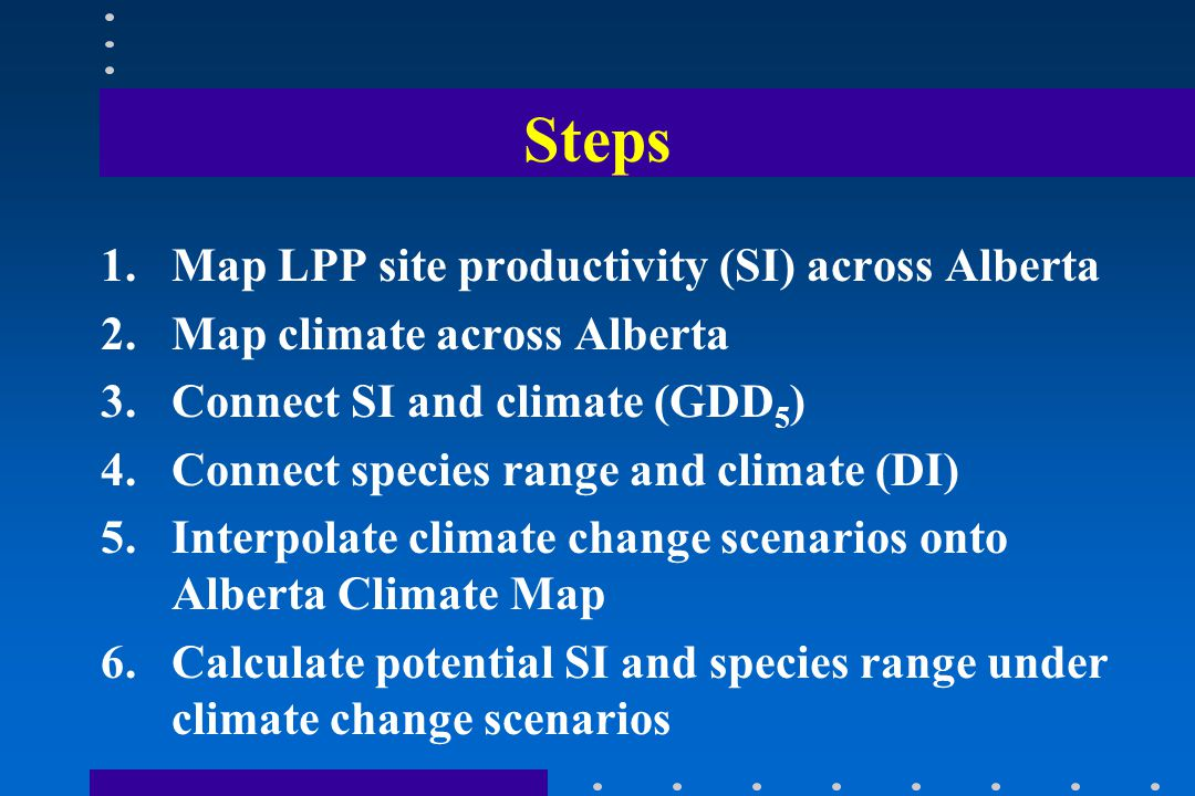 Steps 1.Map LPP site productivity (SI) across Alberta 2.Map climate across Alberta 3.Connect SI and climate (GDD 5 ) 4.Connect species range and climate (DI) 5.Interpolate climate change scenarios onto Alberta Climate Map 6.Calculate potential SI and species range under climate change scenarios