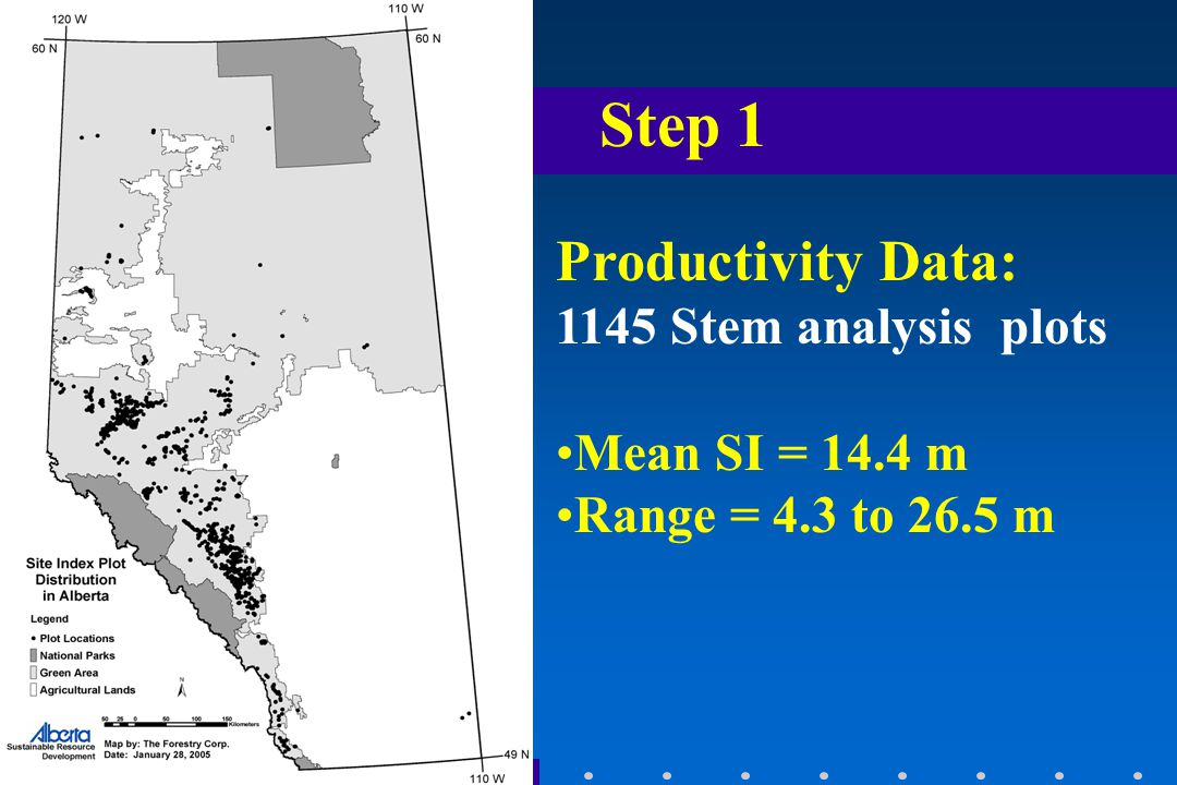 Productivity Data: 1145 Stem analysis plots Mean SI = 14.4 m Range = 4.3 to 26.5 m Step 1