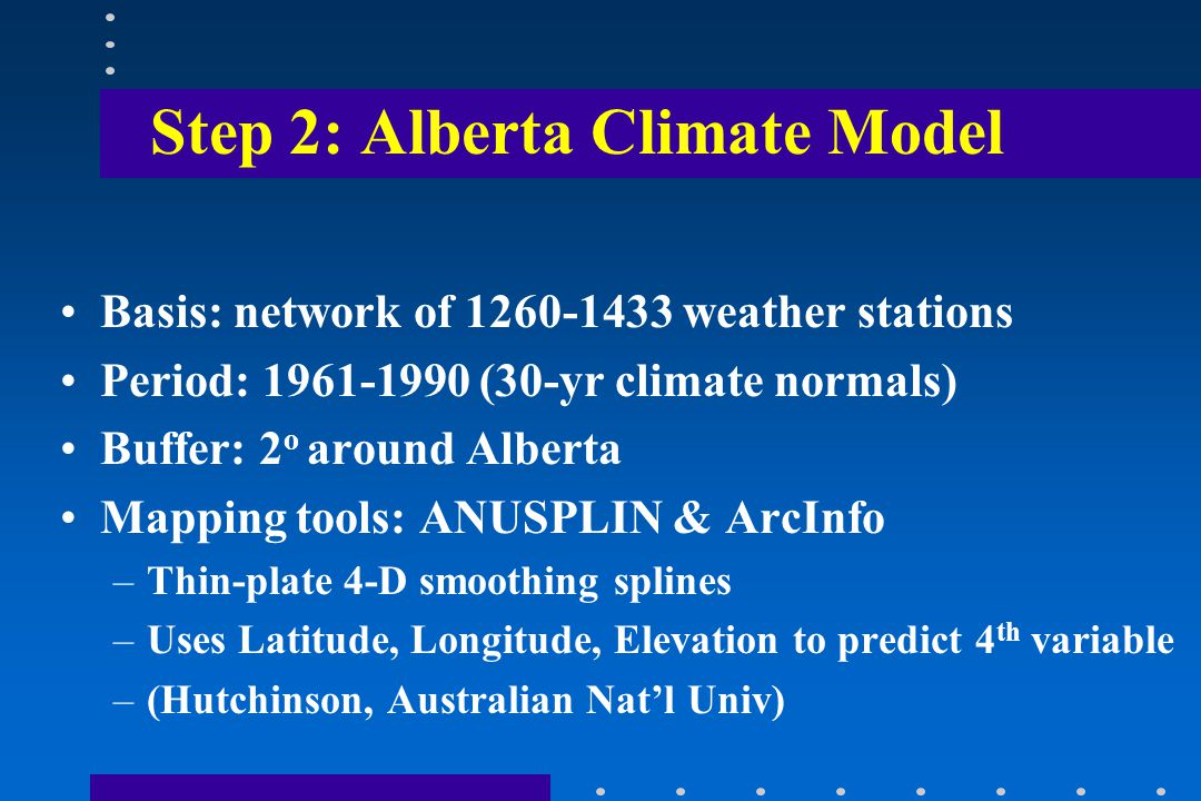 Step 2: Alberta Climate Model Basis: network of 1260-1433 weather stations Period: 1961-1990 (30-yr climate normals) Buffer: 2 o around Alberta Mapping tools: ANUSPLIN & ArcInfo –Thin-plate 4-D smoothing splines –Uses Latitude, Longitude, Elevation to predict 4 th variable –(Hutchinson, Australian Nat'l Univ)