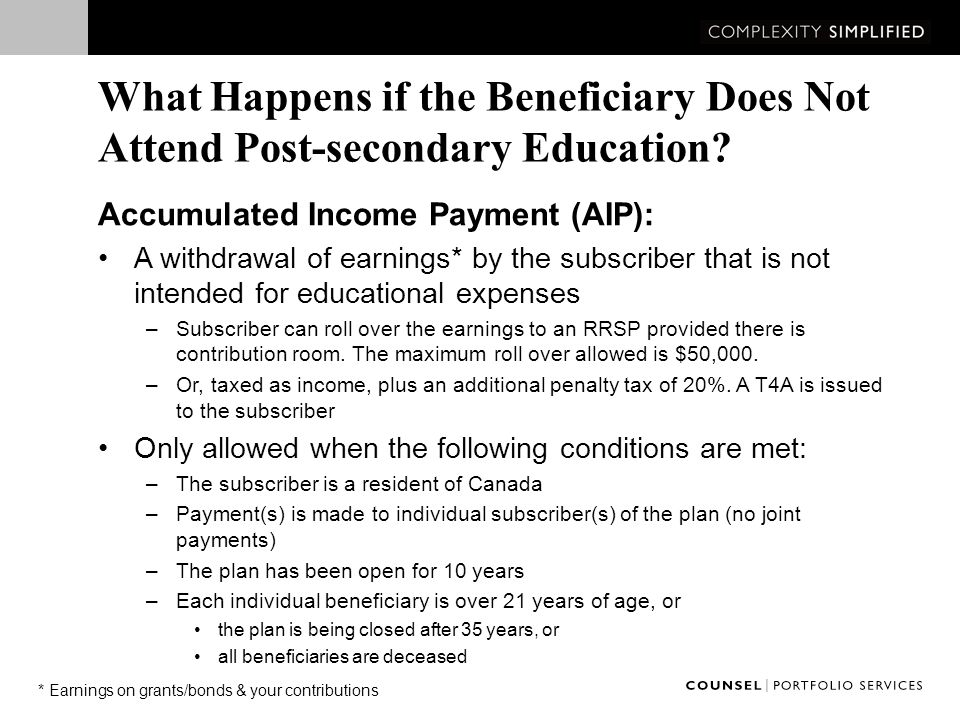 What Happens if the Beneficiary Does Not Attend Post-secondary Education.