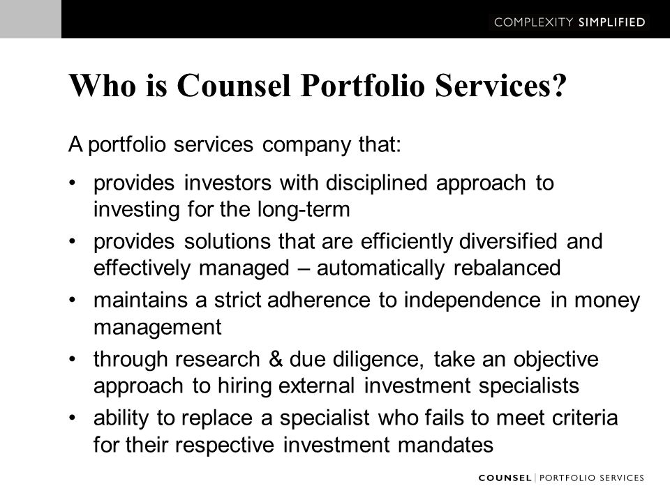 Who is Counsel Portfolio Services.