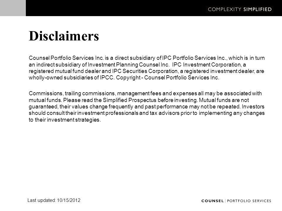 Disclaimers Counsel Portfolio Services Inc.
