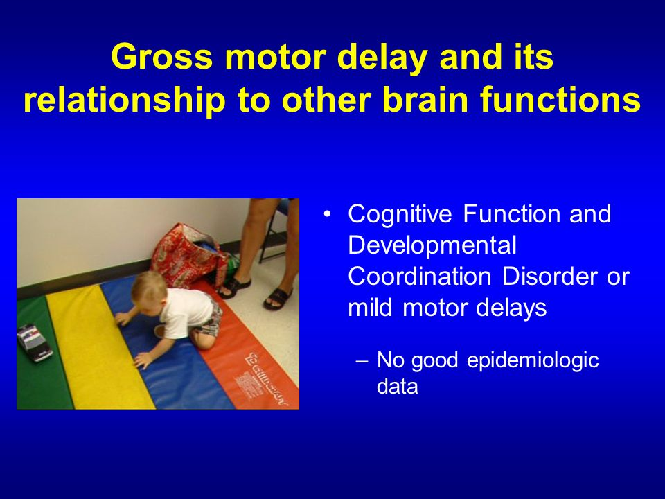 Cognitive Function and Developmental Coordination Disorder or mild motor delays –No good epidemiologic data Gross motor delay and its relationship to other brain functions