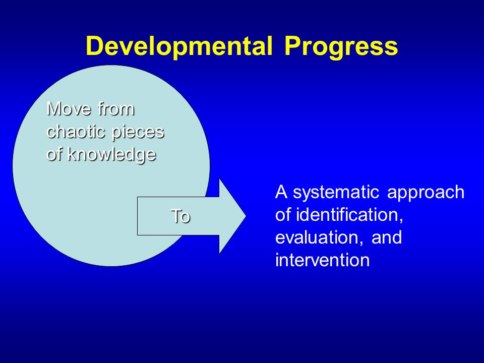 Developmental Progress A systematic approach of identification, evaluation, and intervention Move from chaotic pieces of knowledge To