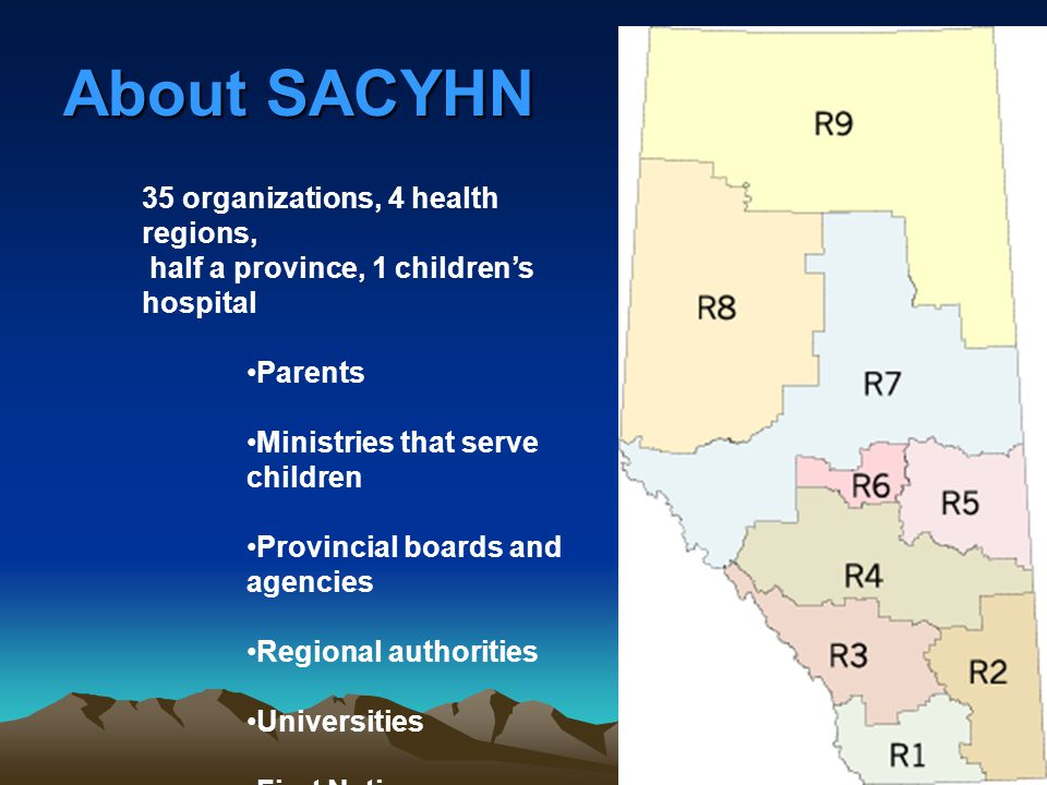About SACYHN 35 organizations, 4 health regions, half a province, 1 children's hospital Parents Ministries that serve children Provincial boards and a