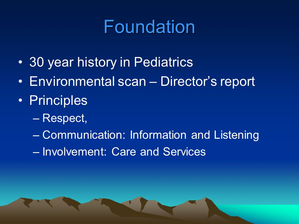 Foundation 30 year history in Pediatrics Environmental scan – Director's report Principles –Respect, –Communication: Information and Listening –Involv