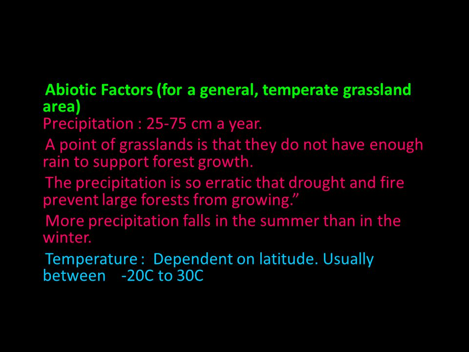 Abiotic Factors (for a general, temperate grassland area) Precipitation : 25-75 cm a year.