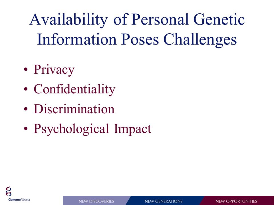 Availability of Personal Genetic Information Poses Challenges Privacy Confidentiality Discrimination Psychological Impact