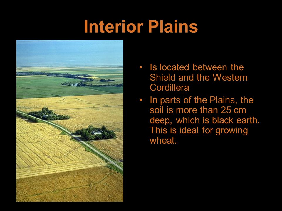 Interior Plains Is located between the Shield and the Western Cordillera In parts of the Plains, the soil is more than 25 cm deep, which is black earth.