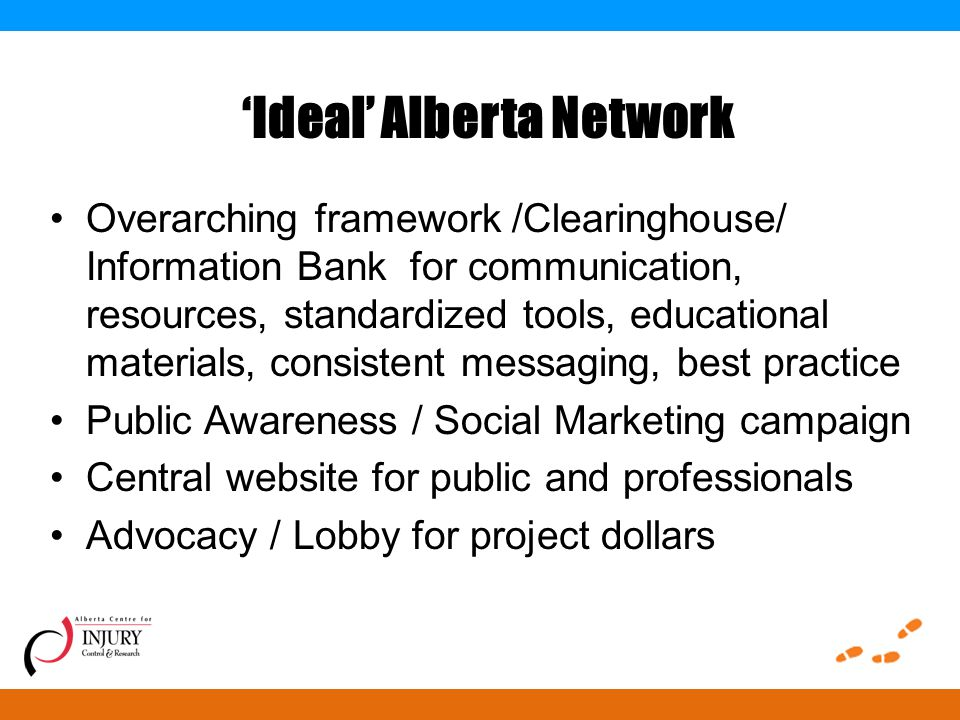 'Ideal' Alberta Network Overarching framework /Clearinghouse/ Information Bank for communication, resources, standardized tools, educational materials, consistent messaging, best practice Public Awareness / Social Marketing campaign Central website for public and professionals Advocacy / Lobby for project dollars