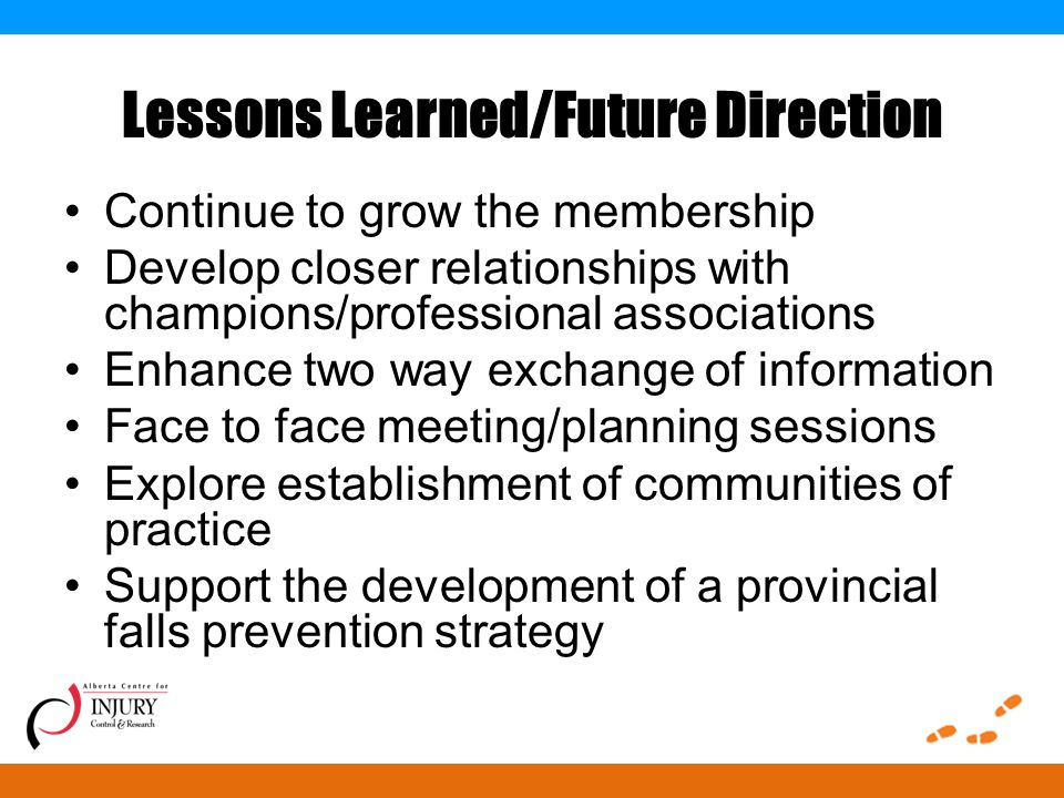 Lessons Learned/Future Direction Continue to grow the membership Develop closer relationships with champions/professional associations Enhance two way exchange of information Face to face meeting/planning sessions Explore establishment of communities of practice Support the development of a provincial falls prevention strategy