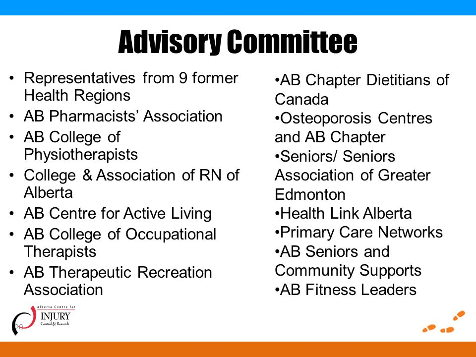 Advisory Committee Representatives from 9 former Health Regions AB Pharmacists' Association AB College of Physiotherapists College & Association of RN of Alberta AB Centre for Active Living AB College of Occupational Therapists AB Therapeutic Recreation Association 20 AB Chapter Dietitians of Canada Osteoporosis Centres and AB Chapter Seniors/ Seniors Association of Greater Edmonton Health Link Alberta Primary Care Networks AB Seniors and Community Supports AB Fitness Leaders