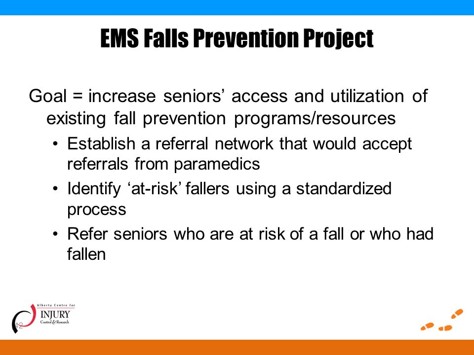 EMS Falls Prevention Project Goal = increase seniors' access and utilization of existing fall prevention programs/resources Establish a referral network that would accept referrals from paramedics Identify 'at-risk' fallers using a standardized process Refer seniors who are at risk of a fall or who had fallen 42