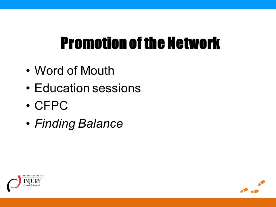 Promotion of the Network Word of Mouth Education sessions CFPC Finding Balance